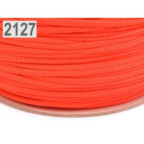 Šňůra  oranžová neon PES Ø4 mm