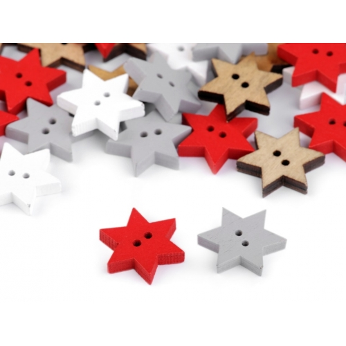 Knoflík 10 hvězda bílá