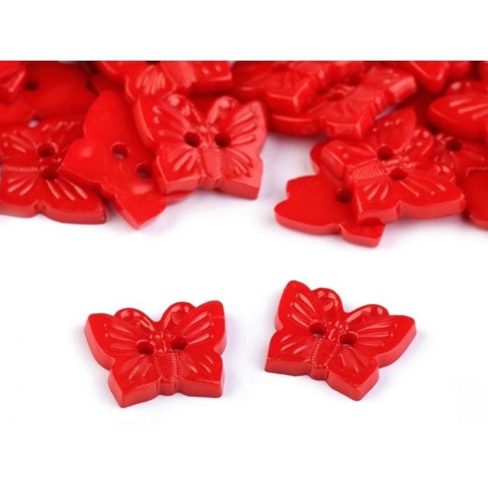 Knoflík 108 motýl červený