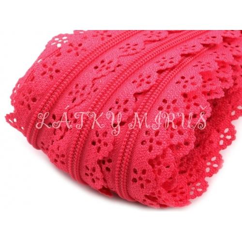 Zip krajka - sytě růžový