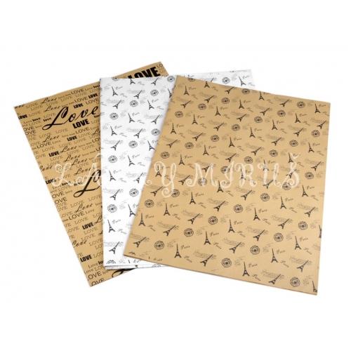 Papír dekorační oboustranný - bílý podklad