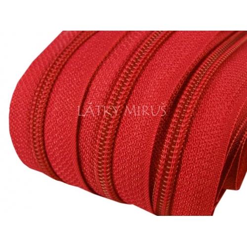 Zip spirálový 5mm - červený