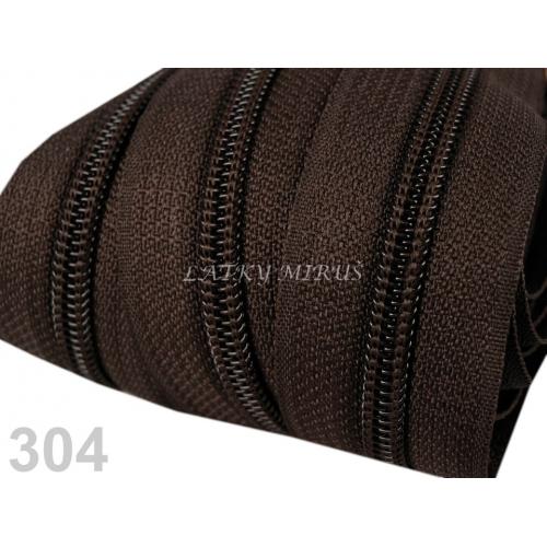 Zip spirálový 5mm - hnědý