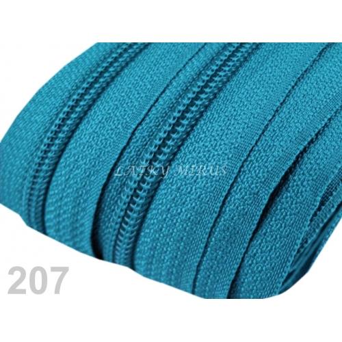 Zip spirálový 5mm - tyrkysový