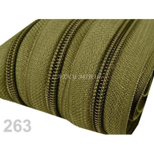 Zip spirálový 5mm - khaki