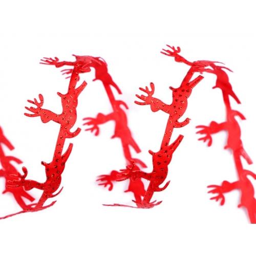Prýmek červený s jeleny