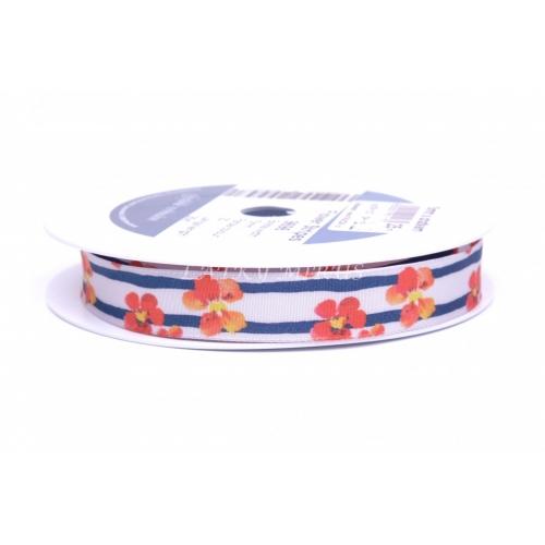 Stuha květy s drátem 15mm