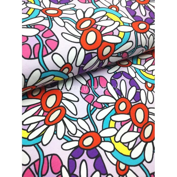 č.7101 úplet - květy na fialové
