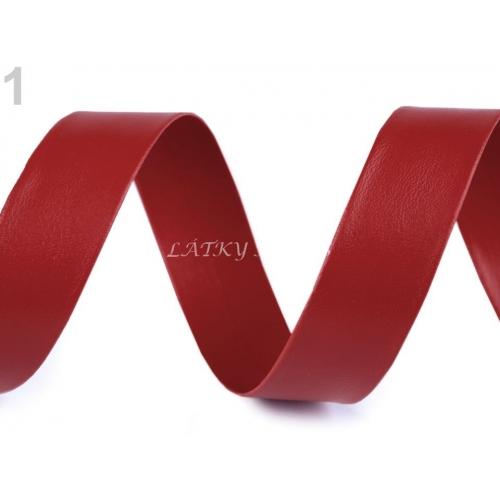 Šikmý proužek koženkový červený