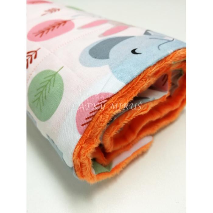 Dětská deka - lišky a sloni - oranžová