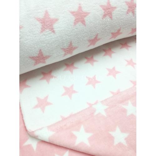 Flanel fleec hvězdy růžové
