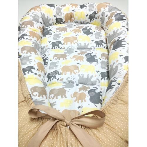 Hnízdečko pro miminko - sloni béžoví