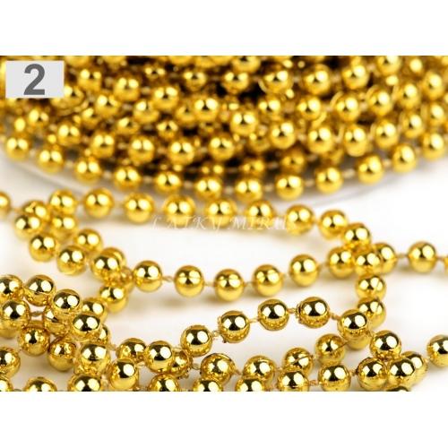Perlový vánoční řetěz Ø5 mm Zlaté