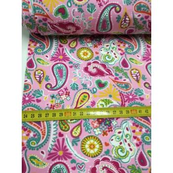 č.3099 teplákovina - květy na růžové