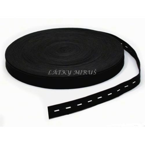 Dírková pruženka šíře 15mm - černá