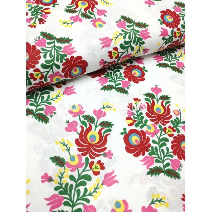 č.2201 květy na bílé