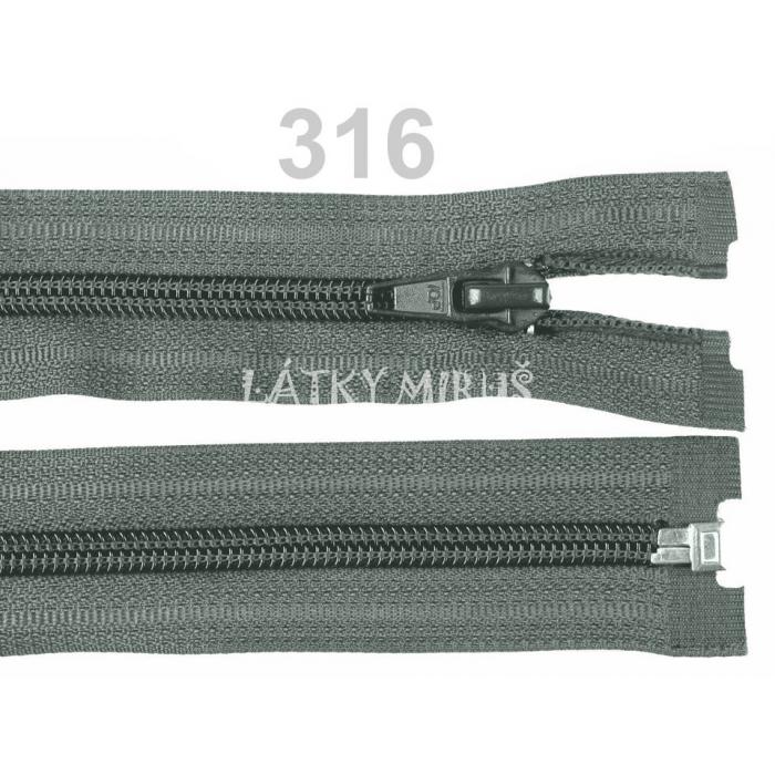 Spirálový zip šíře 5 mm délka 50 cm bundový šedý