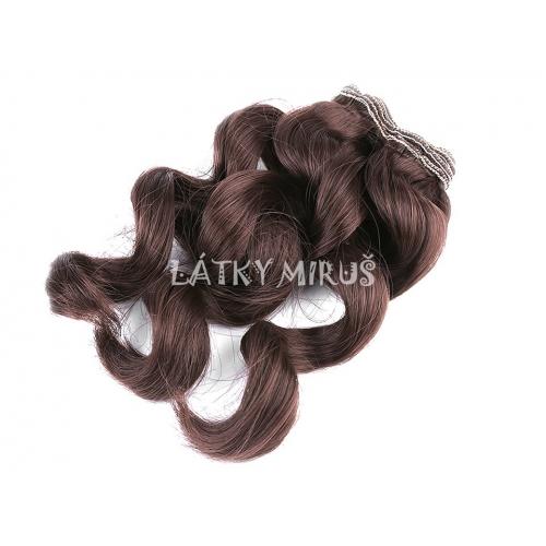 Paruka / vlasy pro panenky 25 cm vlnité Hnědá