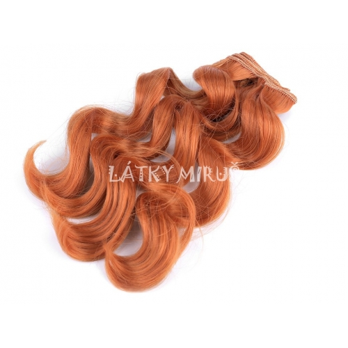 Paruka / vlasy pro panenky 25 cm vlnité Rezavé