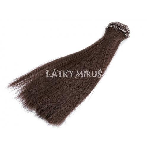 Paruka / vlasy pro panenky 20 cm hnědé