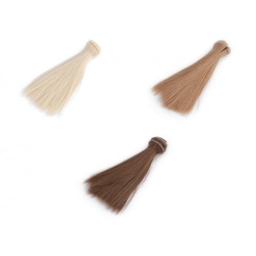 Paruka / vlasy pro panenky 15 cm sv.hnědé