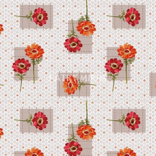 PVC ubrusovina - květ červený