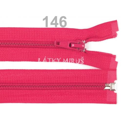 Spirálový zip šíře 5 mm délka 35 cm bundový sytě růžový