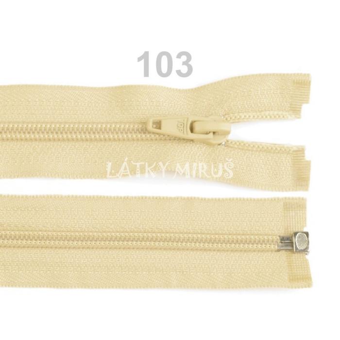 Spirálový zip šíře 5 mm délka 60 cm bundový smetanový