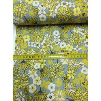 č.3169 úplet - květy na šedé