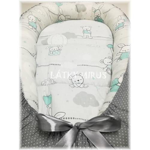 Hnízdo pro miminko - Mentolové s šedým