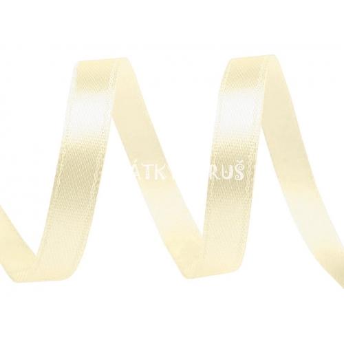 Stuha atlasová 6mm - vanilka