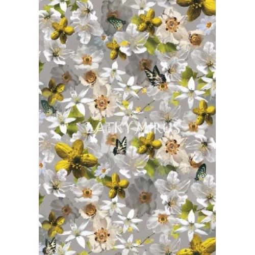 č.2580 teplákovina - květy na šedé