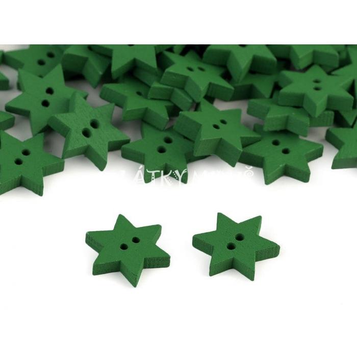 Knoflík 12 hvězda zelená