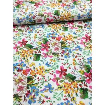 č.1955 květy na bílé - směsovka