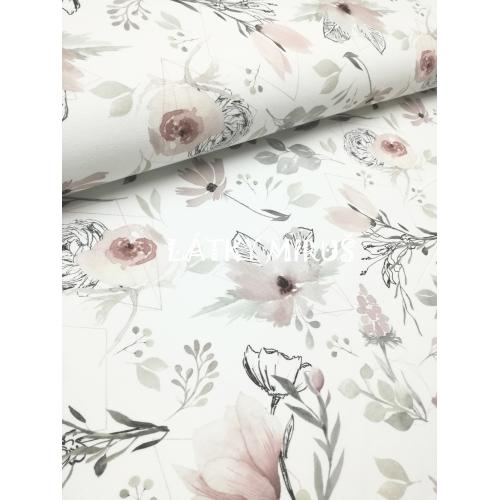 Teplákovina - magnolie digi tisk