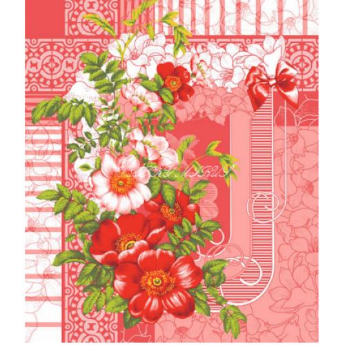 Vafle - utěrkovina (63x5m) růže