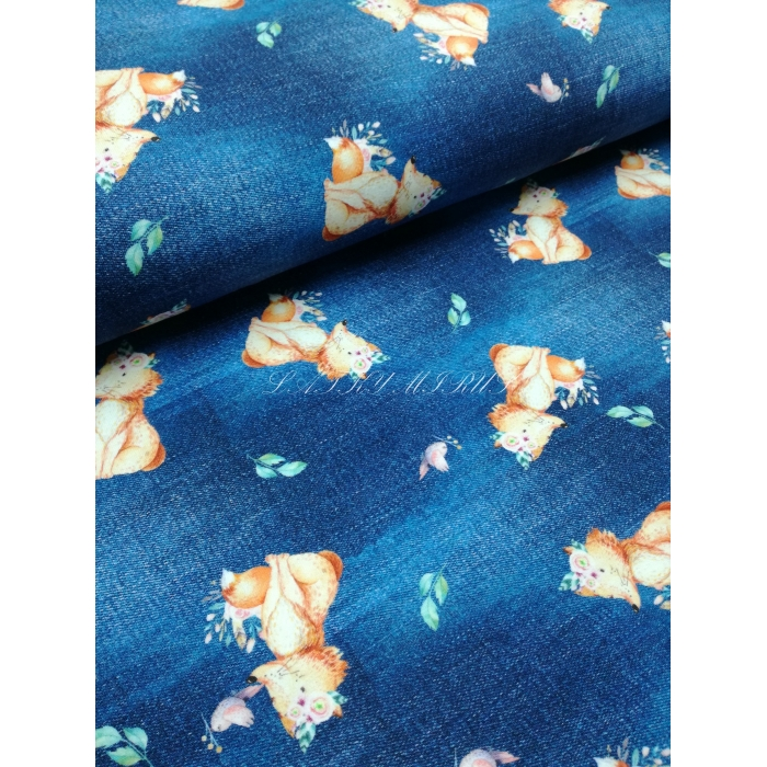 č.2031 úplet - lišky na modré