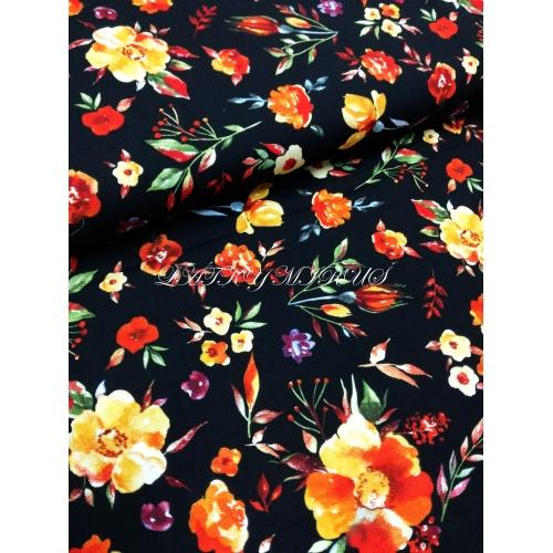 č.5031 viskoza - květy na černé