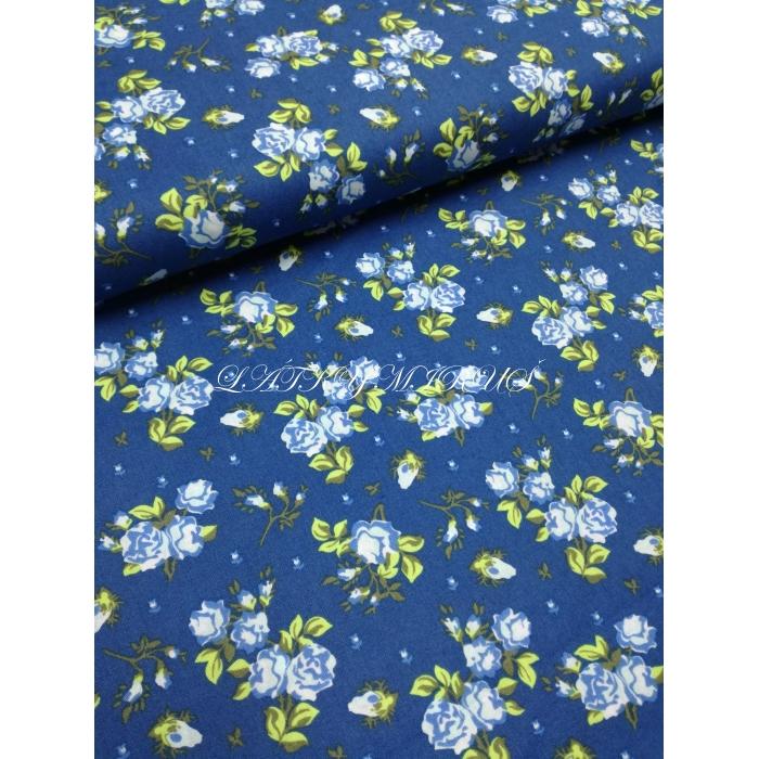 č.5042 popelín - květy na modré