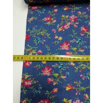 č.5049 denim - květy