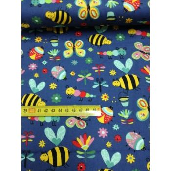 č.5286 popelín - hmyz na modré