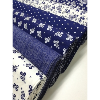 č.6327 květy na modré