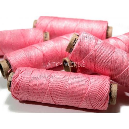 Knoflikova lněná nit - růžová