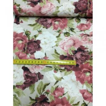 č.7097 květy na béžové .