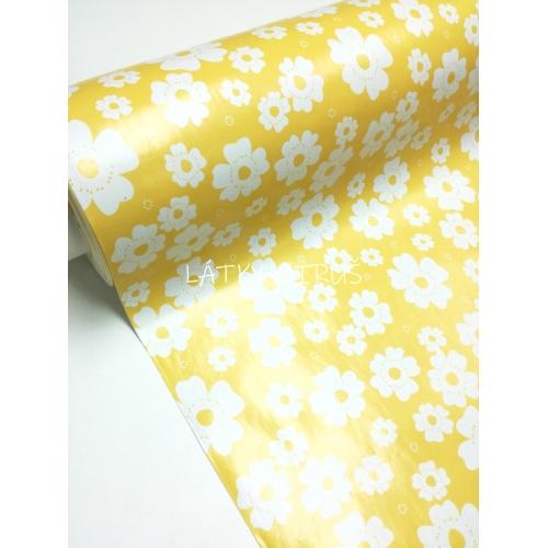 PVC ubrusovina - květy na žluté