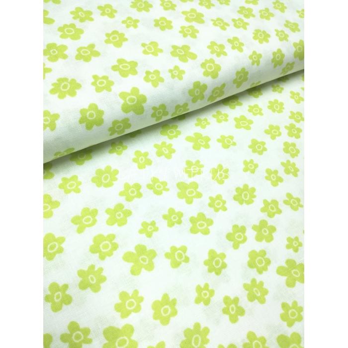 č.2469 květy zelené na bílé