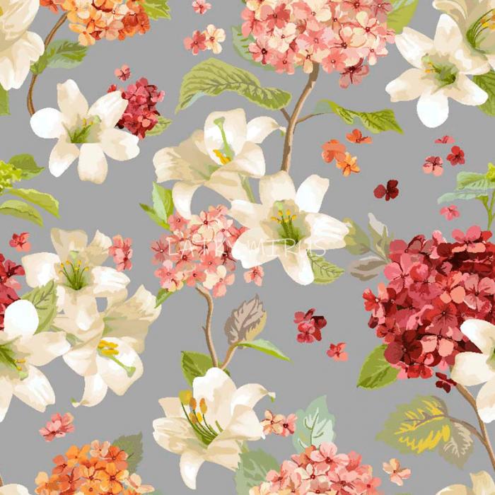 č.5341 květy na šedé - směsovka
