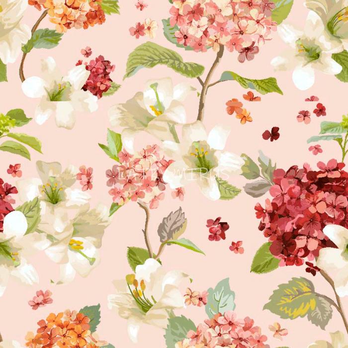 č.5344 květy na růžové - směsovka