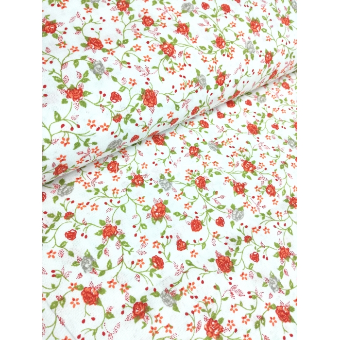 č.2385 květy na bílé