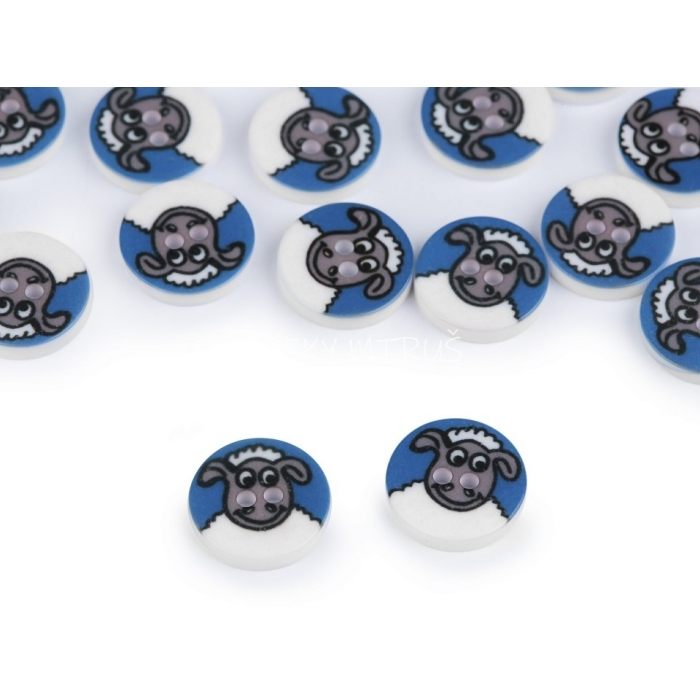 Knoflík 22 ovečka modrá